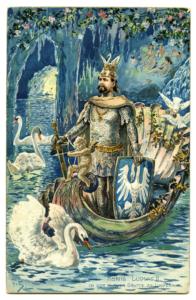 Ludwig als Schwanenritter Lohengrin - Ansichtskarte - um 1900 (Sammlung Spangenberg)